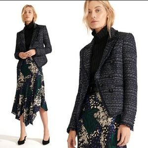Veronica Beard Navy Blue Tweed Cooke Dickie Jacket